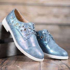 SHELOVET Vezane cipele s eko kožom plava 1