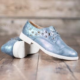 SHELOVET Vezane cipele s eko kožom plava 4