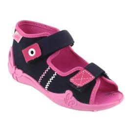 Djevojke papuče repa Befado 242p056 tamnoplava mornarsko plava ružičasta 1