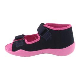 Djevojke papuče repa Befado 242p056 tamnoplava mornarsko plava ružičasta 2