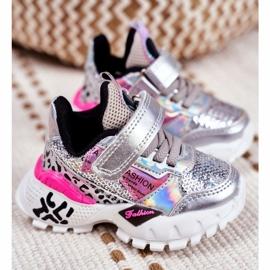 FRROCK Sportske dječje cipele sa čičak srebrom Be Happy siva 1