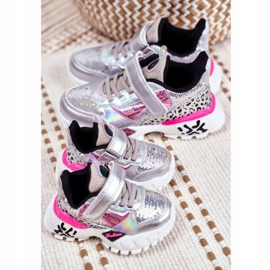 FRROCK Sportske dječje cipele sa čičak srebrom Be Happy siva 4