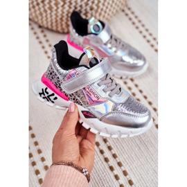 FRROCK Sportske dječje cipele sa čičak srebrom Be Happy siva 5