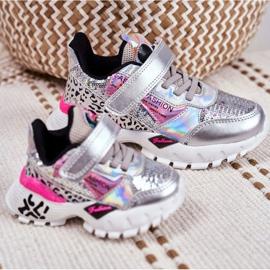 FRROCK Sportske dječje cipele sa čičak srebrom Be Happy siva 6