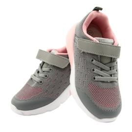 American Club Sportske cipele za djevojčice s čičakom RL12 / 21 Siva ružičasta 4