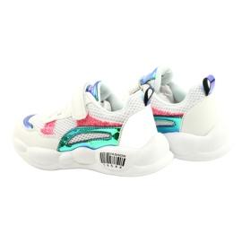 American Club Modne halogene sportske cipele ES23 / 21 bijela ružičasta zelena 5