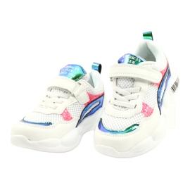 American Club Modne halogene sportske cipele ES23 / 21 bijela ružičasta zelena 2