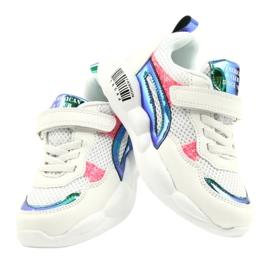 American Club Modne halogene sportske cipele ES23 / 21 bijela ružičasta zelena 4