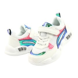 American Club Modne halogene sportske cipele ES23 / 21 bijela ružičasta zelena 3