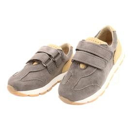 Kožne dječačke ležerne cipele Mazurek 1362 čičak smeđa žuta boja 1