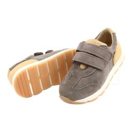 Kožne dječačke ležerne cipele Mazurek 1362 čičak smeđa žuta boja 2
