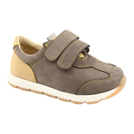 Kožne dječačke ležerne cipele Mazurek 1362 čičak smeđa žuta boja 5