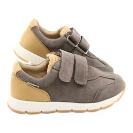 Kožne dječačke ležerne cipele Mazurek 1362 čičak smeđa žuta boja 4
