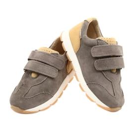 Kožne dječačke ležerne cipele Mazurek 1362 čičak smeđa žuta boja 3