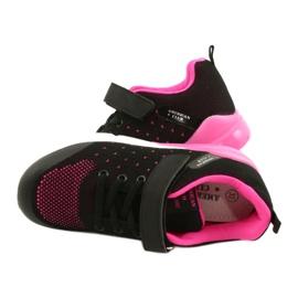 American Club Sportske cipele za djevojčice s čičakom RL11 Crna / Ružičasta crno 4